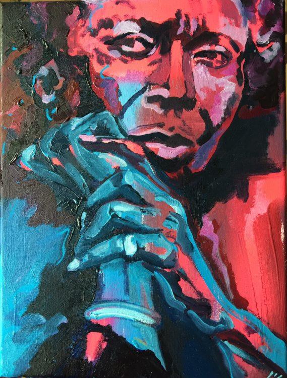 Acryl en airbrush op canvas, 30 x 40 cm. VERKOCHT